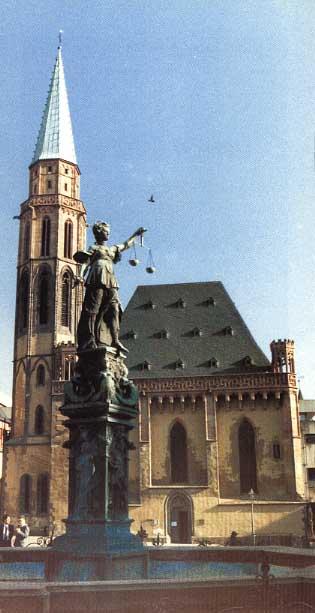 Alte Nikolaikirche, 1986/1987, Ansicht Römerseite / Klicken: Mainseite