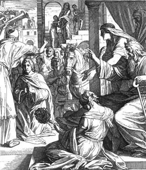 Illustration: David läßt Salomo zum König salben