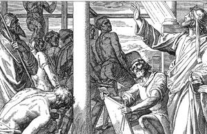 Illustration: Salomo baut das Haus des Herrn
