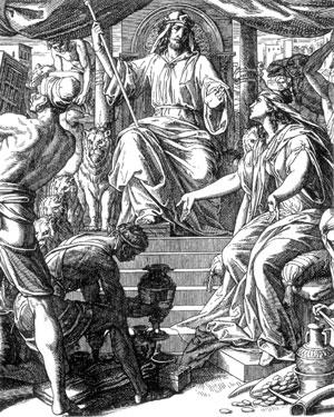 Illustration: Die Königin aus Arabien huldigt Salomo