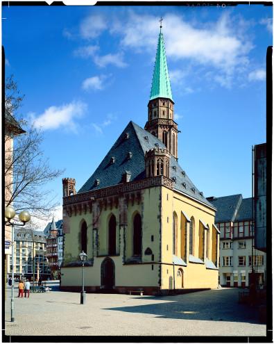 Alte Nikolaikirche, 1985, Ansicht Mainseite / Klicken: Römerseite
